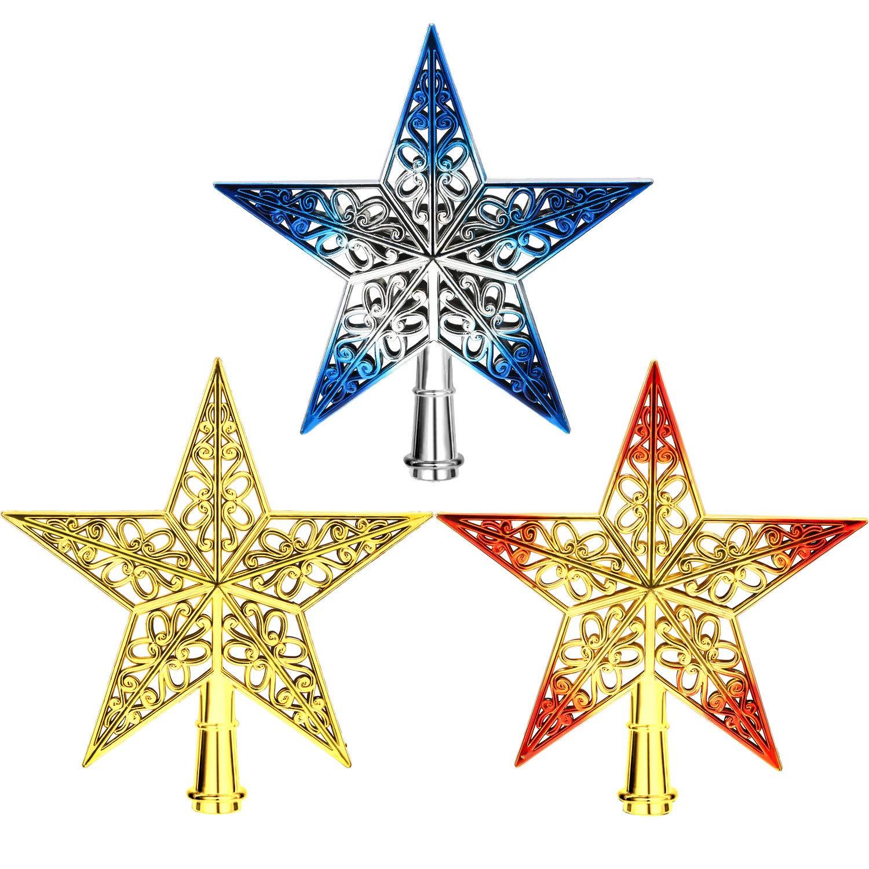 3 Pi/èces 8 Pouces Topper Arbre de No/ël /Étoile Pointes de Sapin de No/ël Creux pour D/écoration d/'Arbre de No/ël Bleu Argent Or Ensemble de Couleur 1