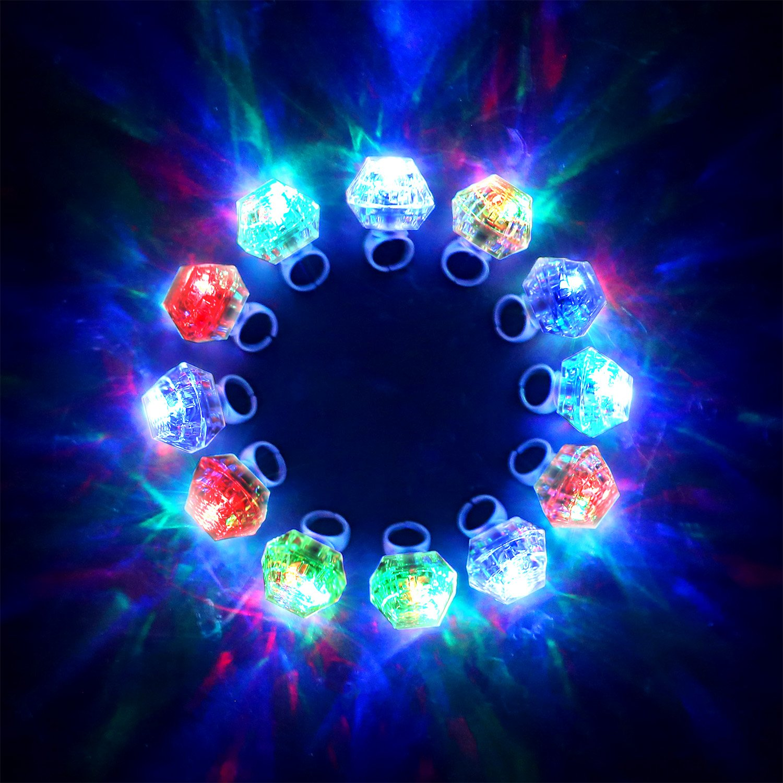 Konsait Flashing Led Light up Ring Toys Diamond Grow in the Dark Jelly Bumpy Rings for Birthday Bachelorette Bridal Shower Gatsby Party Favors (12pcs) by Konsait (Image #6)