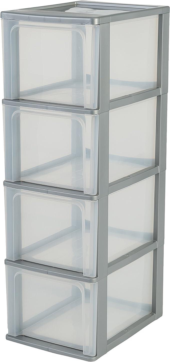 torre di stoccaggio 3 cassetti Organizer Chest Iris Ohyama 26 x 35.5 x 60.2 cm 39 L argento // trasparente plastica OCH-2300