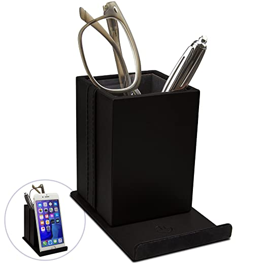 Optix 55 Elegant Glasses Holder – Premium Black Faux Leather, Soft Velvet Lining, Non Skid Felt Bottom - Phone Eyeglass Holder Stand and Multipurpose Organizer for Eyewear, Pens and Office Supplies