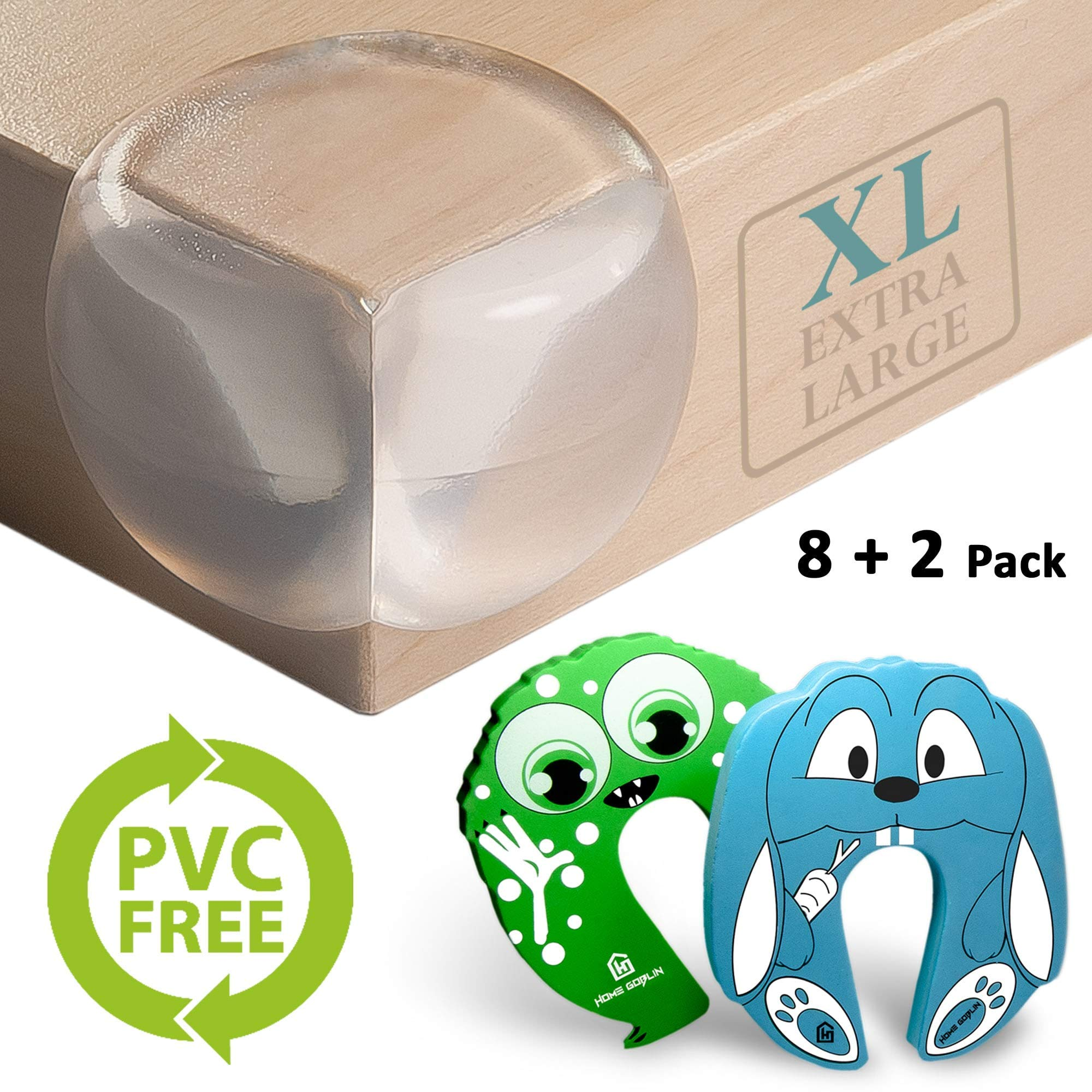 Corner Guards PVC Free- Extra Large for Safety | X5 More Adhesive Power Pre-Applied | 200% Softer Material | 8+2 Pack | Baby Friendly | Aesthetically Clear + Child Door Finger Pinch Protectors