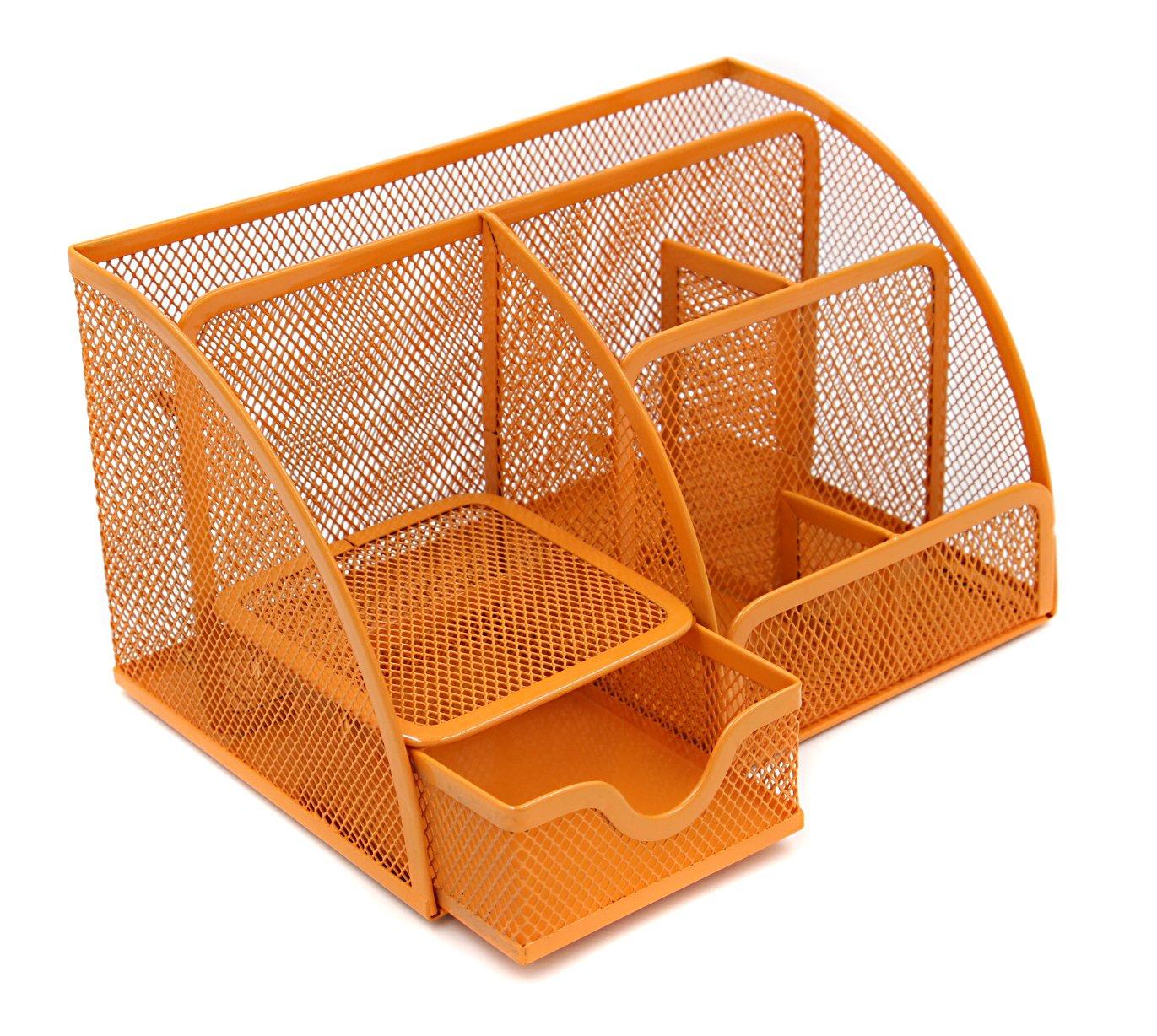 colore: arancione portapenne Contenitore di cancelleria Generic-Organizer da scrivania in rete