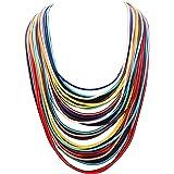 Women Multi Layer Chunky Bib Necklace Magnetic Clasp Wax Line Choker Statement Jewelry