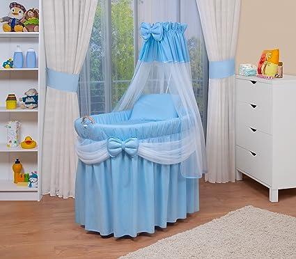 WALDIN Cuna Moisés, carretilla portabebés XXL, 4 colores a elegir, azul/blanco