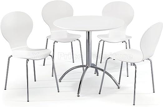 Juego de comedor Kimberley; mesa blanca y 4 sillas apilables ...