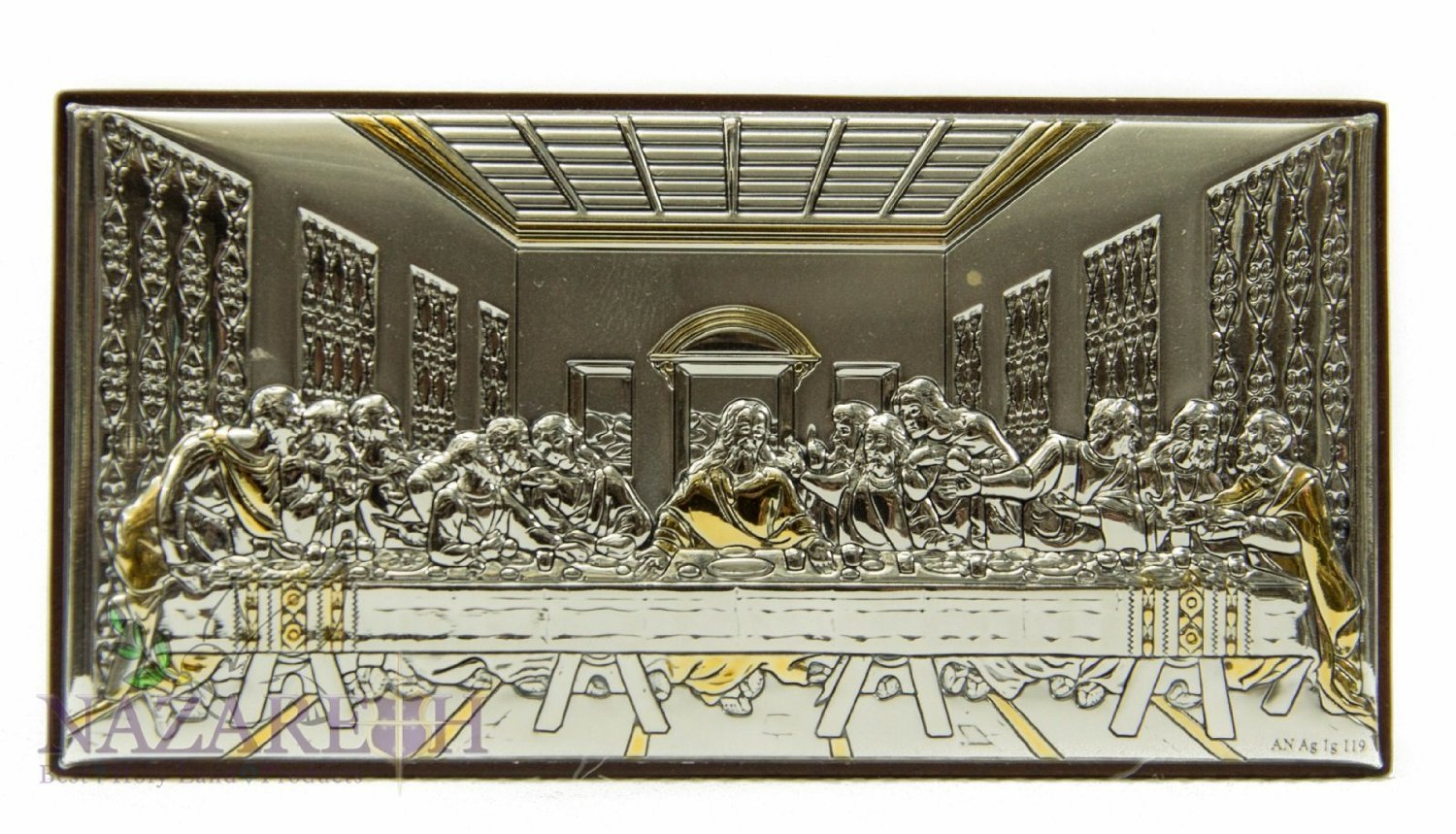 Amazing Last Supper Of Jesus Icon Italian Silver Gold Parts Holyland by Holy Land Gifts