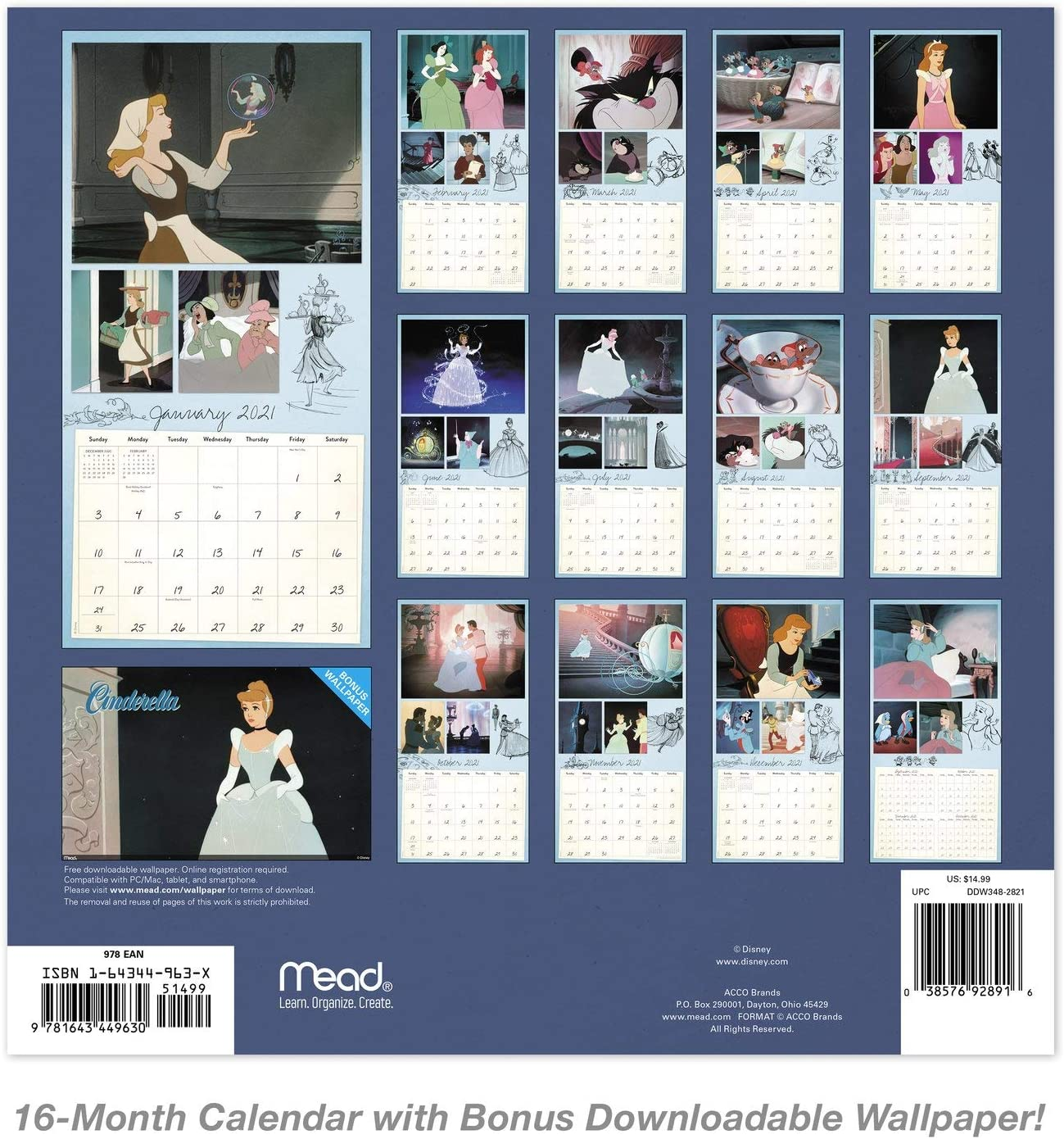 Amazon Com Mead 2021 Disney Cinderella 70th Anniversary Wall Calendar 12 X 12 Monthly Ddw34828 Office Products