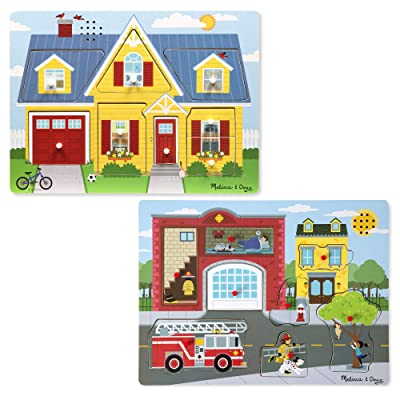 Melissa & Doug Sound Puzzle Around The House & Around The Fire Station Puzzle (8 Piece): Toys & Games [5Bkhe1107143]