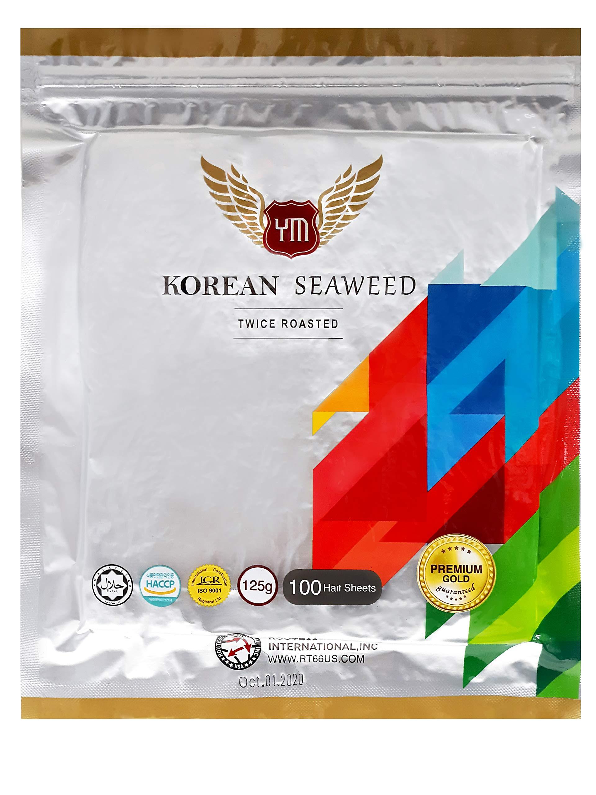 YM Korean Roasted Seaweed Premium Sushi Nori   Premium Gold Grade   Twice Roasted   100% Natural Korean Seaweed   100 Half Sheets (1 Pack) by YM (Image #1)