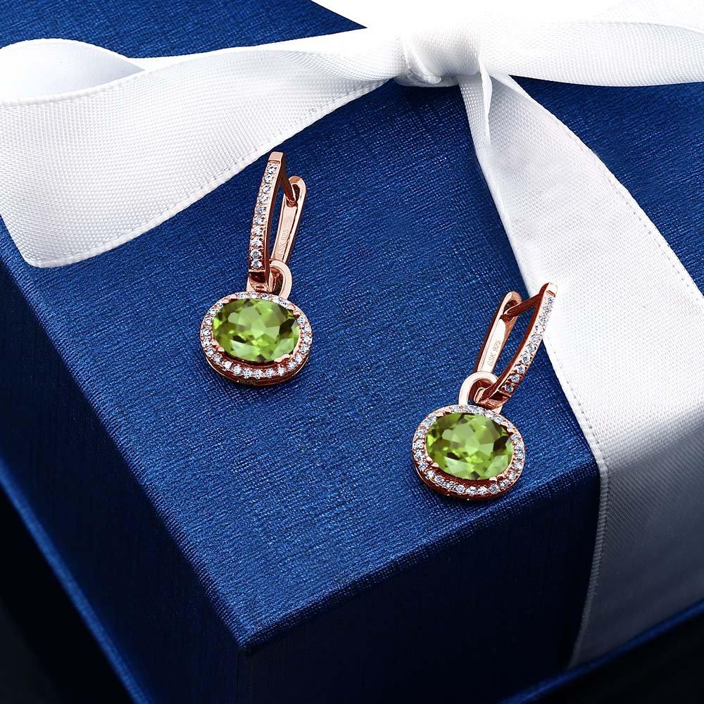Gem Stone King 18K Rose Gold Plated 925 Sterling Silver Oval Gemstone Birthstone Earrings