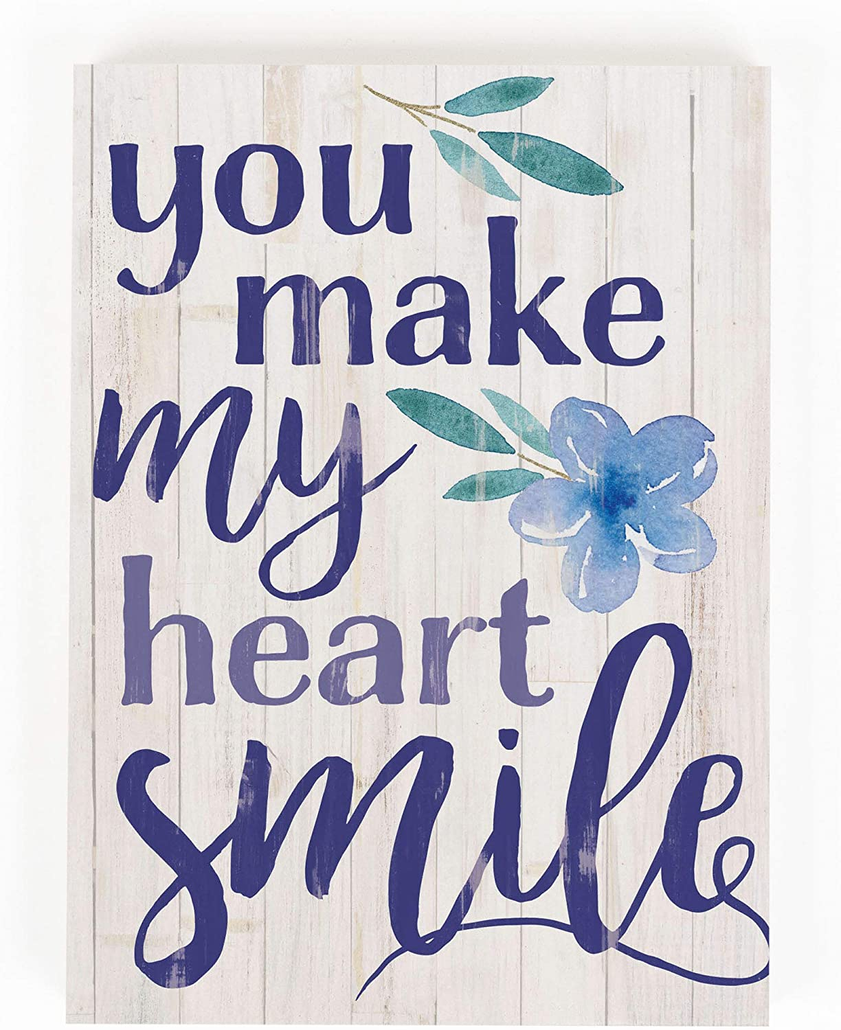 P. Graham Dunn You Make My Heart Floral Blue 7.3 x 5.5 Pine Wood Word Block Sign
