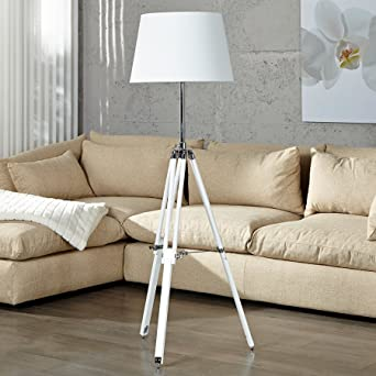 Elegante Design Stehlampe SYLT Hhenverstellbar Weiss Mit Textilschirm Stehleuchte Wohnzimmer Lampe