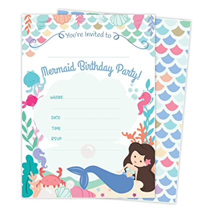 Mermaid Happy Birthday Invitations Invite Cards 25 Count With Envelopes Seal Stickers Vinyl