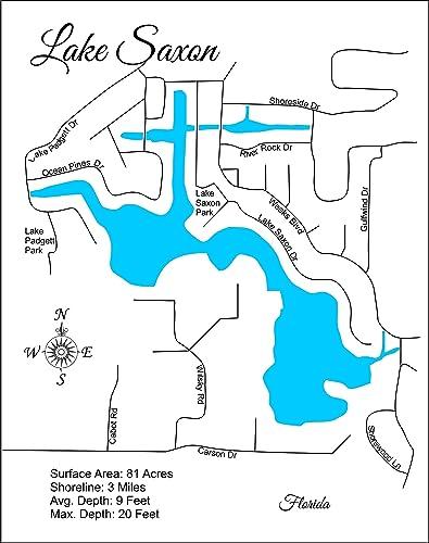 Amazon com: Lake Saxon, Florida: Standout Wood Map Wall