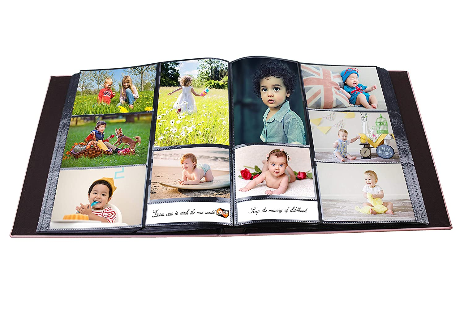 ZOVIEW 600 Horizontal and Vertical Pockets Photo Album Holds 3.5x5 Leather Cover memo Album slots album 5x7 photos,Large Capacity Deluxe Sewn Bonded Leather Albums 4x6 Black, Large