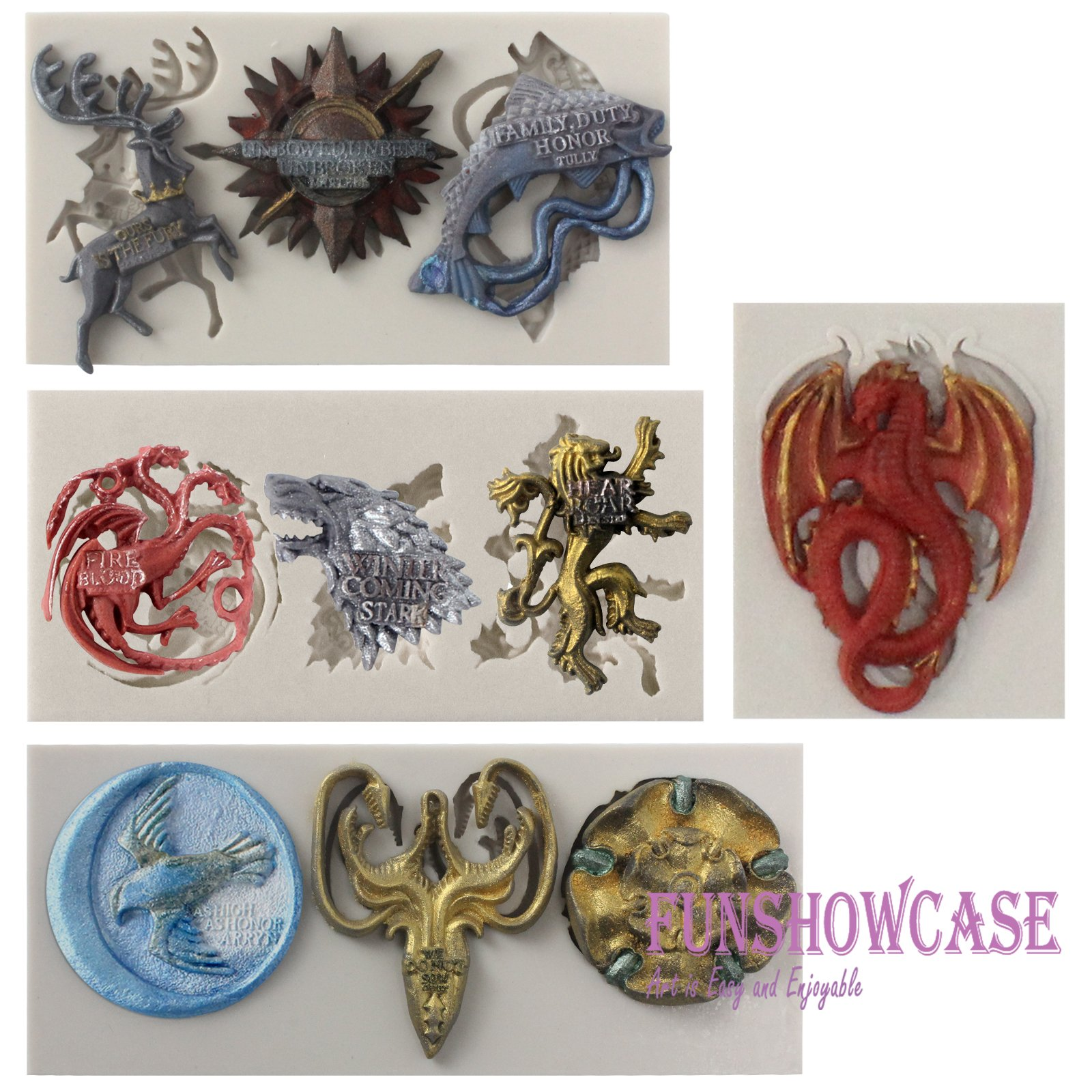 Funshowcase Game Thrones GOT inspired House Sigils and Mottos Silicone Molds for Sugarcraft, Fondant Cake Decoration, Cupcake Topper, Polymer Clay Resin Casting Jewelry and Crafting Projects, 4-in-set by FUNSHOWCASE (Image #1)