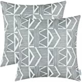 Pack 2, CaliTime Throw Pillow Covers 18 X 18 Inches Both Sides, Vintage Southwest Geometric, Gray