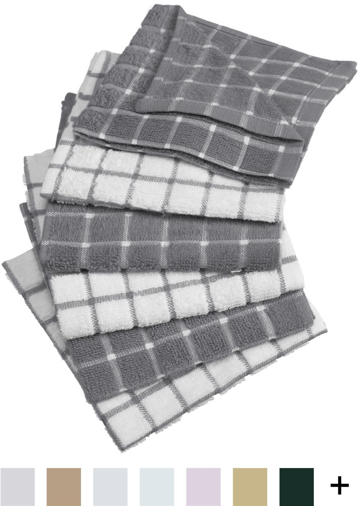 DII Cotton Terry Windowpane Dish Cloths Ultra Absorbent