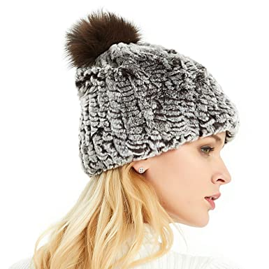 IKEPOD Real Rabbit Fur Hat d41c0f7de64