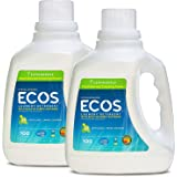 Earth Friendly Products ECOS 2x Liquid Laundry Detergent with Built in Softener, Lemongrass, 100 Loads, 100-Ounce Bottle (Pack of 2)
