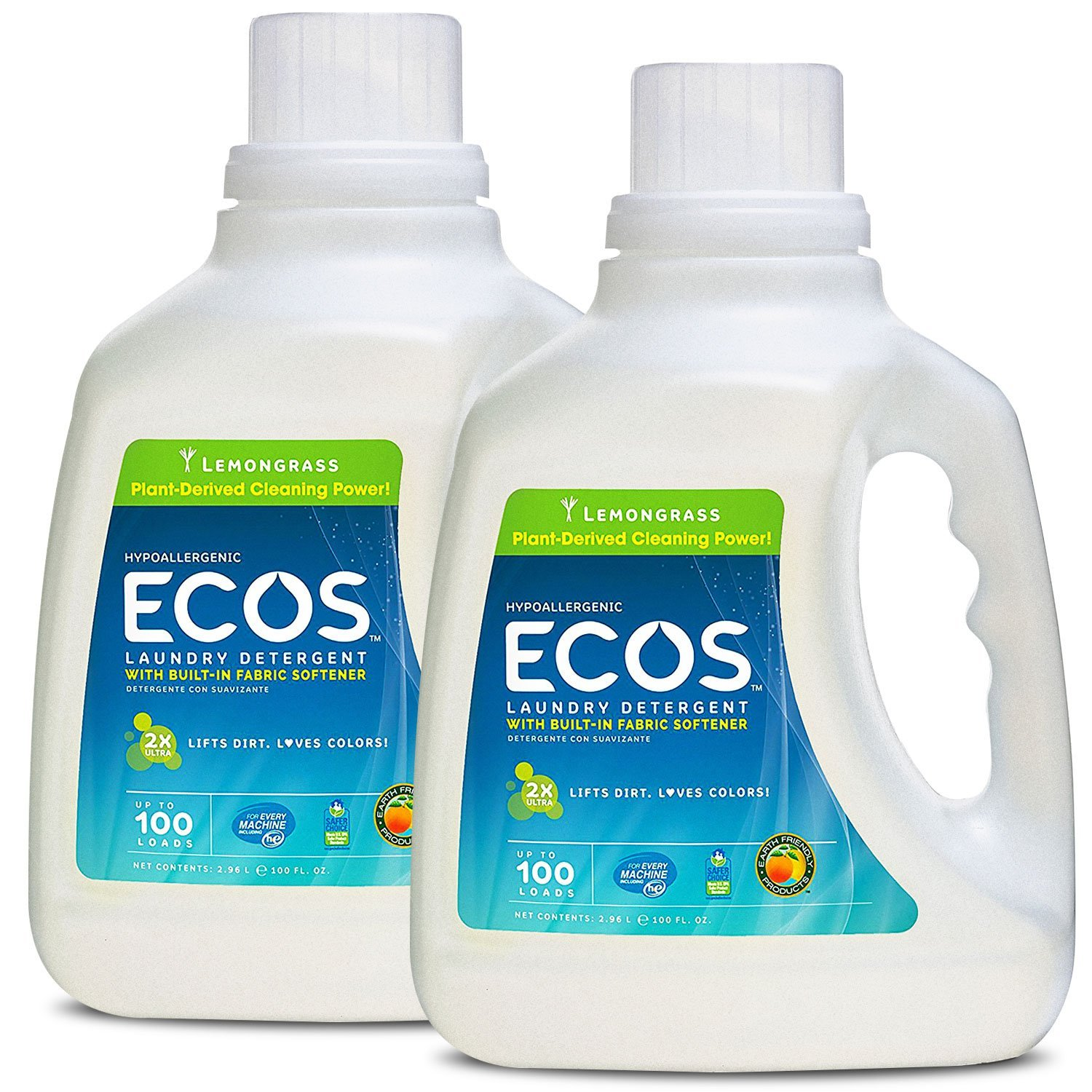 Earth Friendly Products ECOS 2X Liquid Laundry Detergent with Built in Softener, Lemongrass, 200 Loads, 2 x 100 oz Bottles by Earth Friendly Products