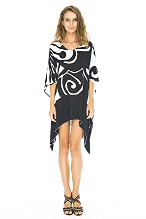 7789b62999 Back From Bali Womens Loose Beach Dress Cover up Short Poncho Butterfly  Black