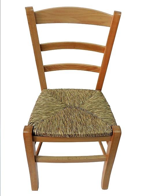 Biscottini Sedia in legno massello di faggio grezzo con seduta in ...