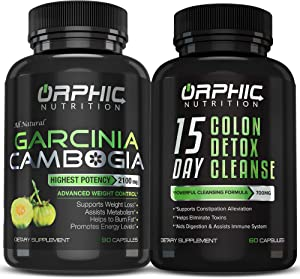 Garcinia Cambogia Extract & Colon Cleanser Detox (90 + 60 Caps) - Appetite Suppressant, Carb Blocker, Weight Loss, Bloating & Constipation Relief - Intestinal Cleansing & Detoxification, Flush Toxins