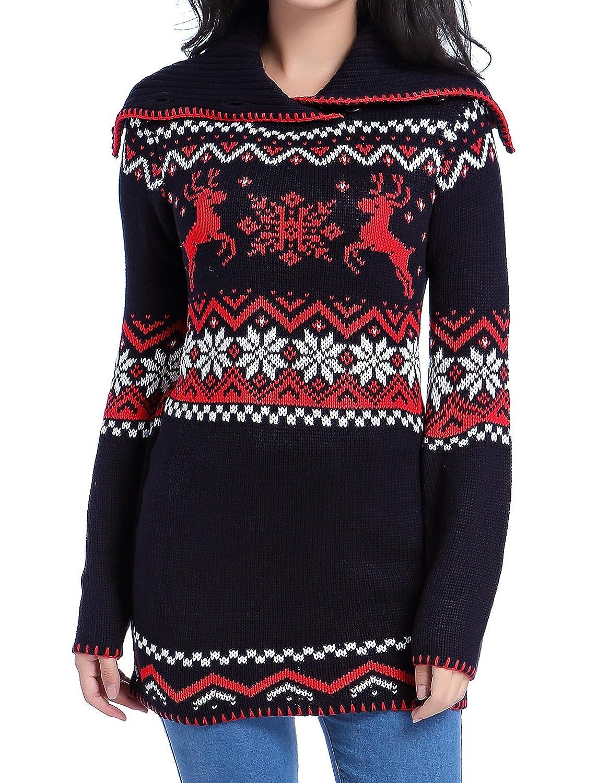 Women Christmas sweater, V28 Ugly Ladies Cute Santa Xmas Knit ...