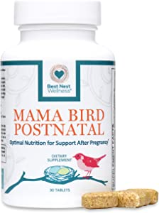 Mama Bird Postnatal Multi+, Once Daily, Made with Whole Food, Organic Blend, L-Methylfolate (Folic Acid) and Methylcobalamin (B12), Easy to Swallow, 100% Natural Vitamin, Best Nest Wellness, 30 Count