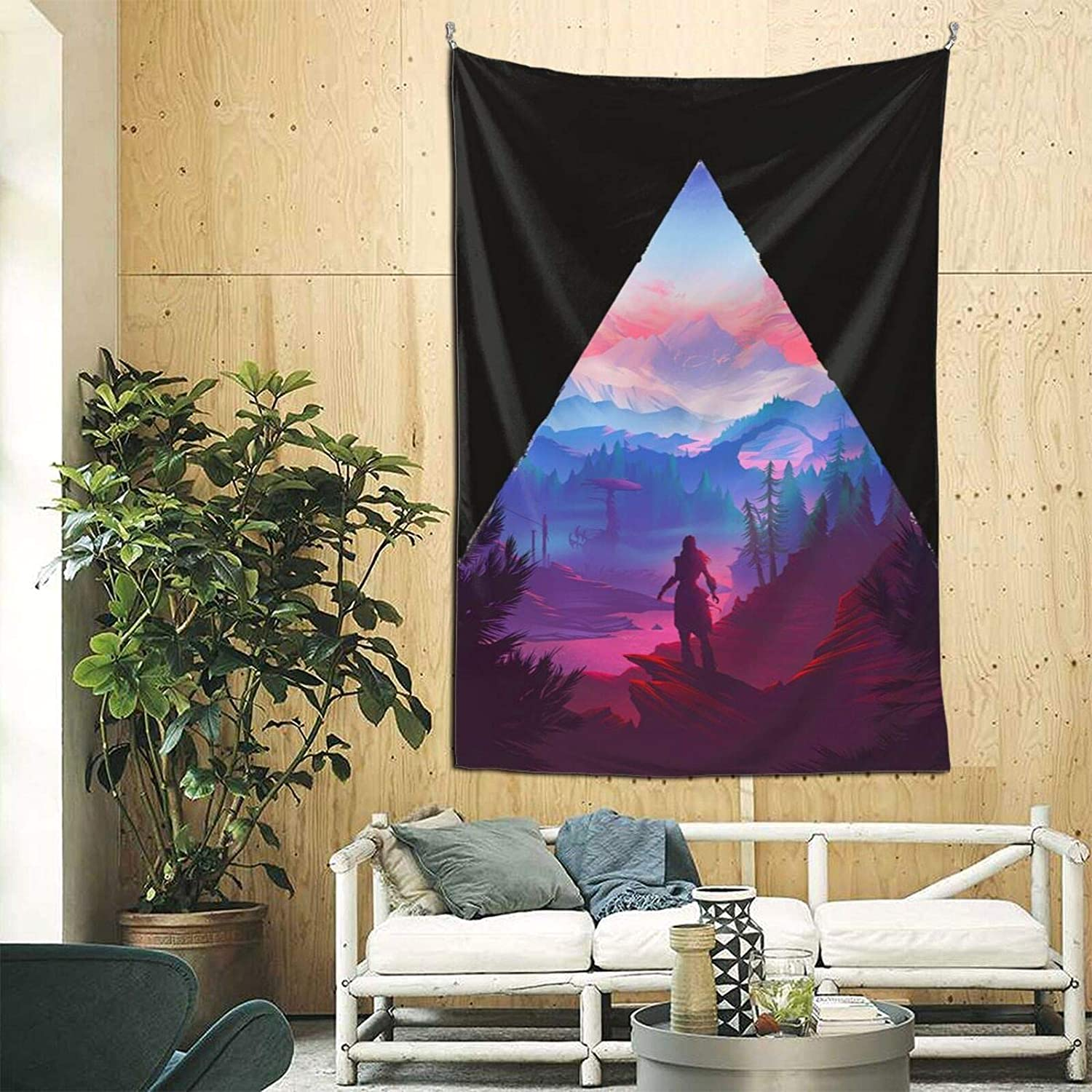 BVigil Horizon Zero Dawn Funny Anime Wall Hanging Art Print Poster Tapestry Home Decoration Blanket for Bedroom Living Room Dorm Decoration Tapestries Machine Washable 90?60 Inch