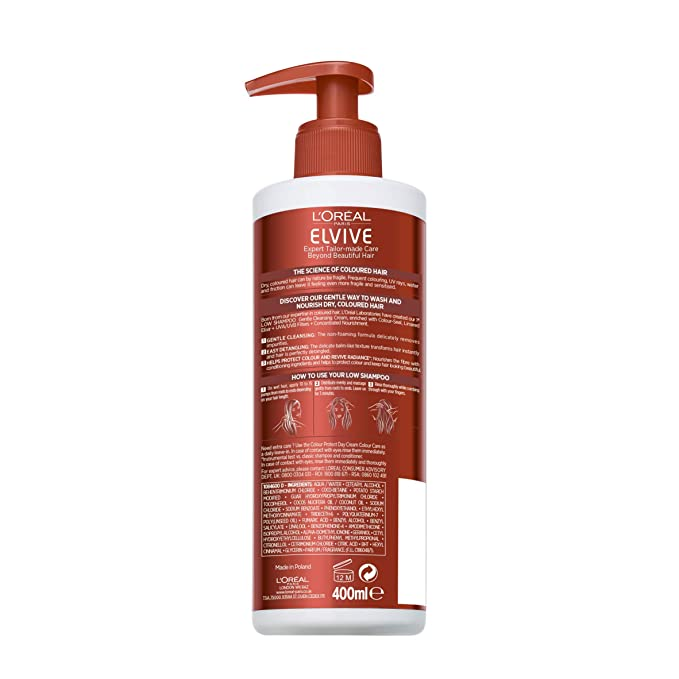 L Oreal Elvive Colour Protect for Dry Coloured Hair Low Shampoo 400 ml   Amazon.co.uk  Beauty 0733bc92ad