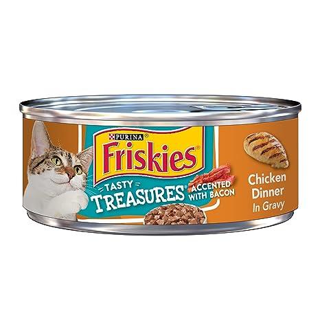 Purina - Friskies Friskies - Comida para gatos mojada, sabrosas tesoros, pollo y bacón