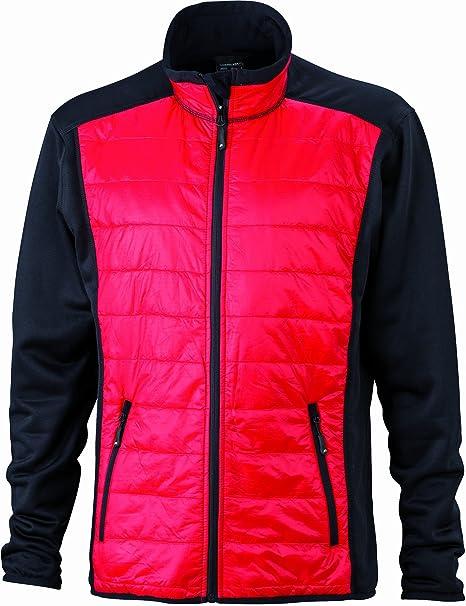 Jacke Stretchfleece Mens Hybrid Jacket - Soft shell para hombre, color negro, talla S James & Nicholson