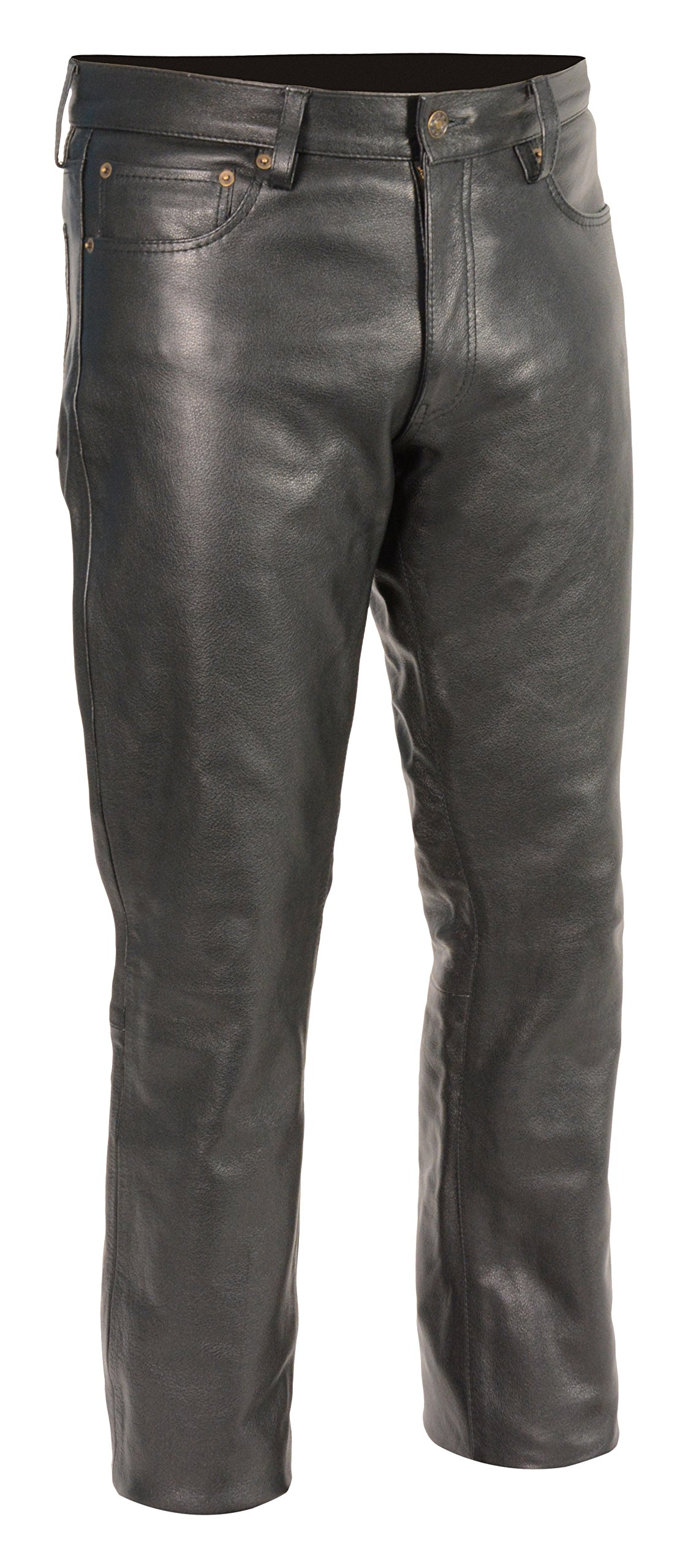Milwaukee Leather Men's Premium Leather Pants (Black, Size 34) (S) by Milwaukee Leather