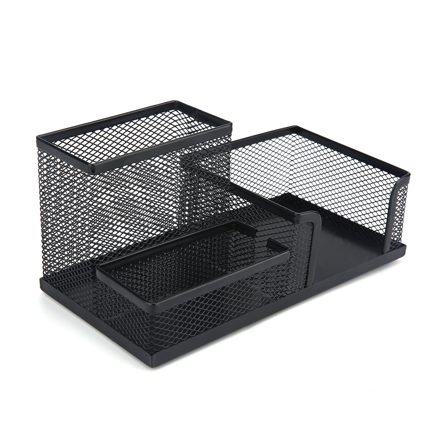 Mesh Office Desk Organizer Supplies Accessories with 3 Compartments for Desk Accessories, Perfect for Home, Students, or Office (Black)