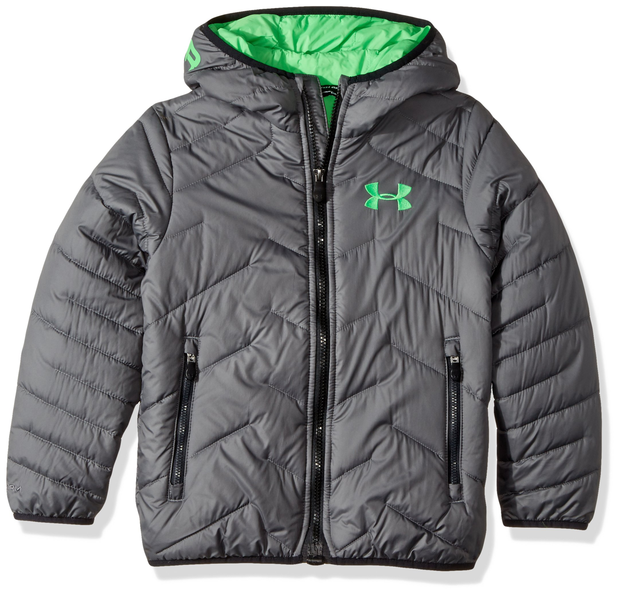 Under Armour Boys' ColdGear Reactor Hooded Jacket, Graphite/Lime Twist, Youth Large by Under Armour