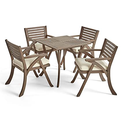 Amazing Great Deal Furniture Deandra Outdoor 4 Seater Acacia Wood Dining Set With Square Table Gray And Creme Machost Co Dining Chair Design Ideas Machostcouk