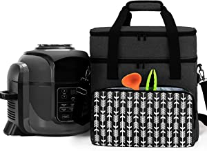 YARWO Carrying Bag Compatible with 6-8 qt Ninja Foodi, Pressure Cooker Storage Bag with Pockets and Top Compartment for Kitchen Accessories, Black with Arrow