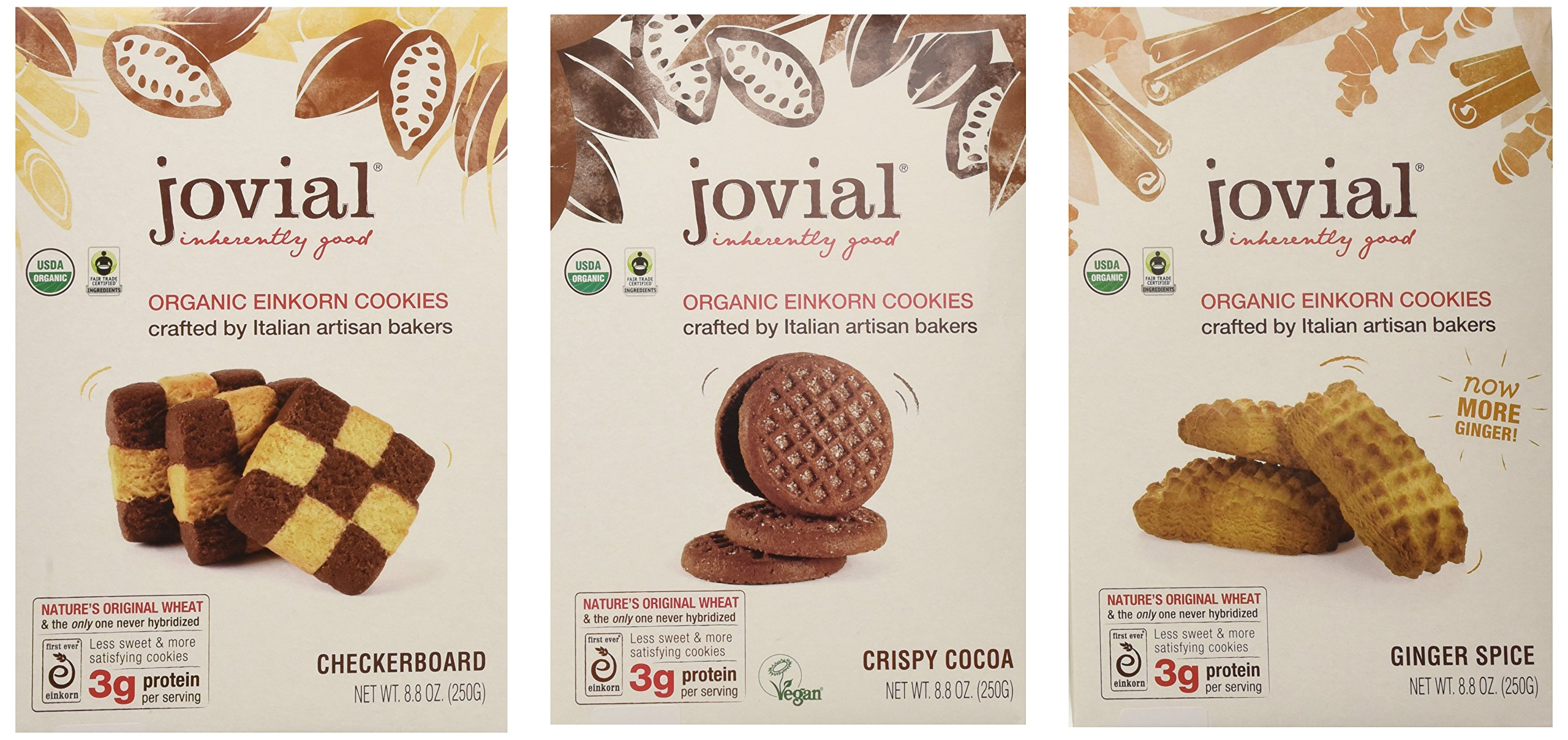 Jovial Organic Einkorn Cookies, Super Variety,(3-pack) 1 of Each Flavor -Checkerboard, Ginger Spice, Crispy Cocoa - 8.8 Oz. each