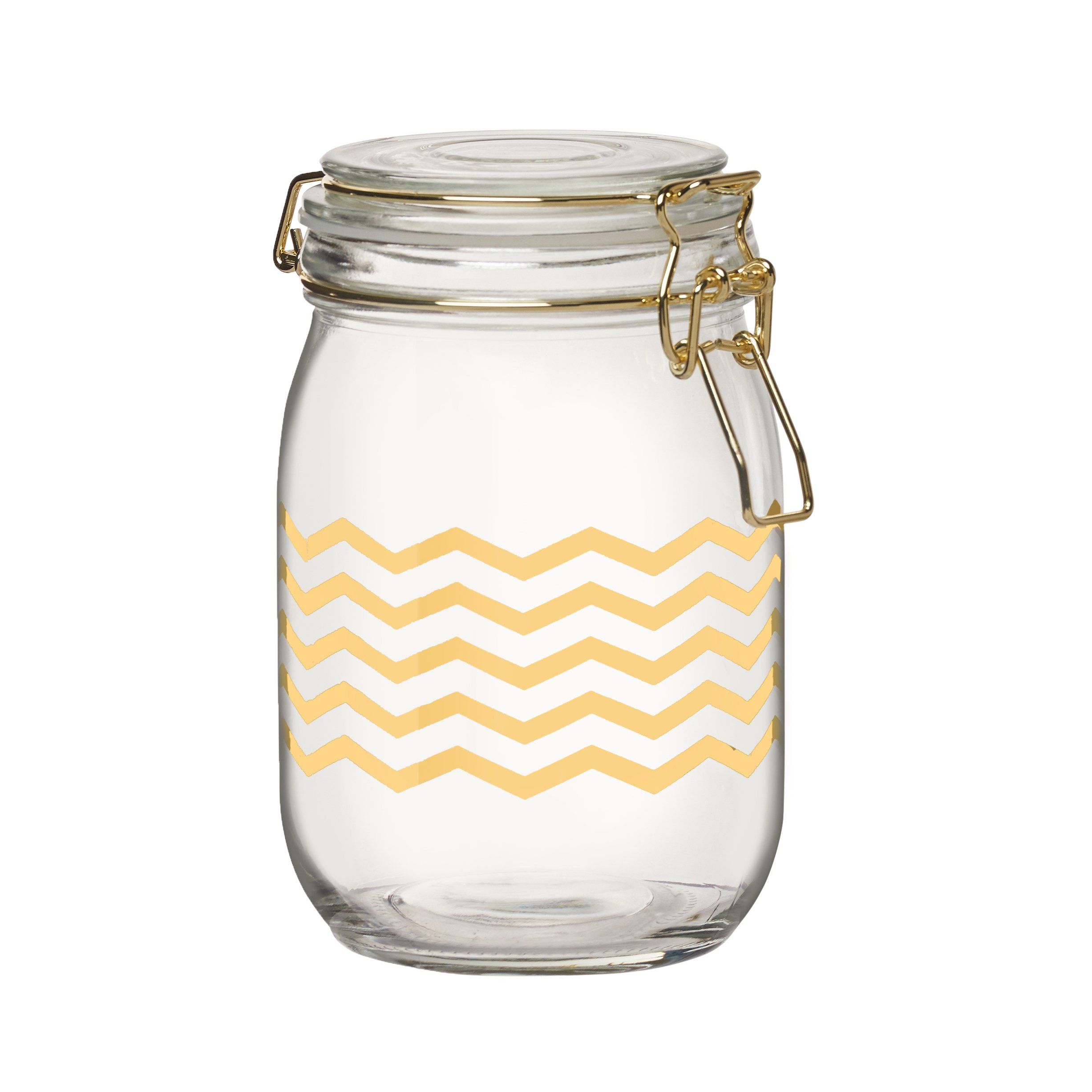 Amici Home, A7CA916R, Luxe Collection Chevron Glass Hermetic Preserving Storage Canister, Food Safe, Gold Metal Clips, Large, 36 Ounces