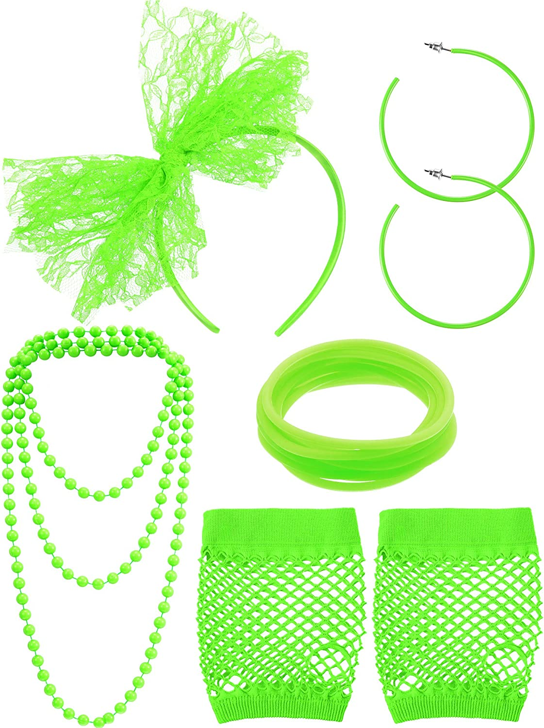 80s Fancy Dress Costume Accessories Lace Headband Earrings Fishnet Gloves Necklace Bracelet for 80s Retro Party (Fluorescent Green)