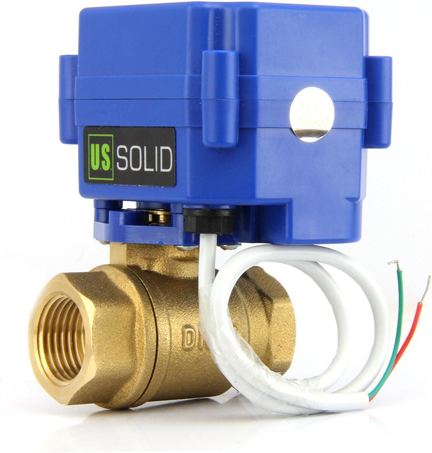U.S Solid 1//2 Vanne motoris/ée Laiton Vanne a sphere 2 voies motoris/ée electrique 9-24V AC//DC 3 fils