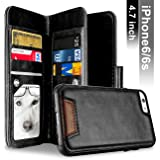 iPhone 6 Case, iPhone 6S Case, Samcore Leather Wallet Flip Case with Detachable Folio, Card Slots, Premium PU Leather, Retail Box for iPhone 6/6S 4.7 Inch [BLACK]