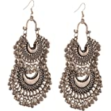 Zephyrr Fashion German Silver Turkish Style Beaded Chandbali Earrings Jewellery for Women Jewellery for Womens