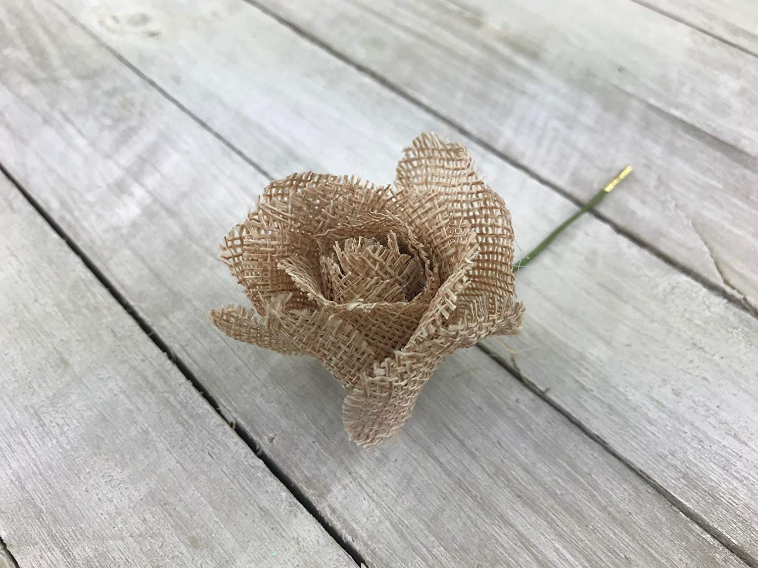 3 Inches OOKI 12-Pack Handmade Jute Burlap Rose Flowers with stem for DIY Crafts