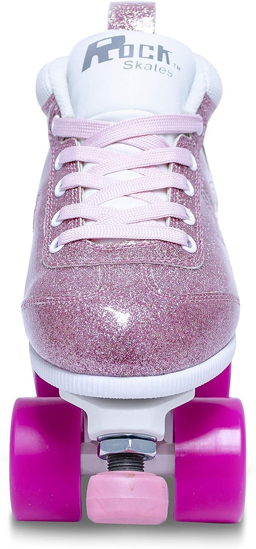 Rock Star Pink Glitter Roller Skates Indoor Outdoor Classic High-Top Quad Design Sure-Grip Girls Roller Skates