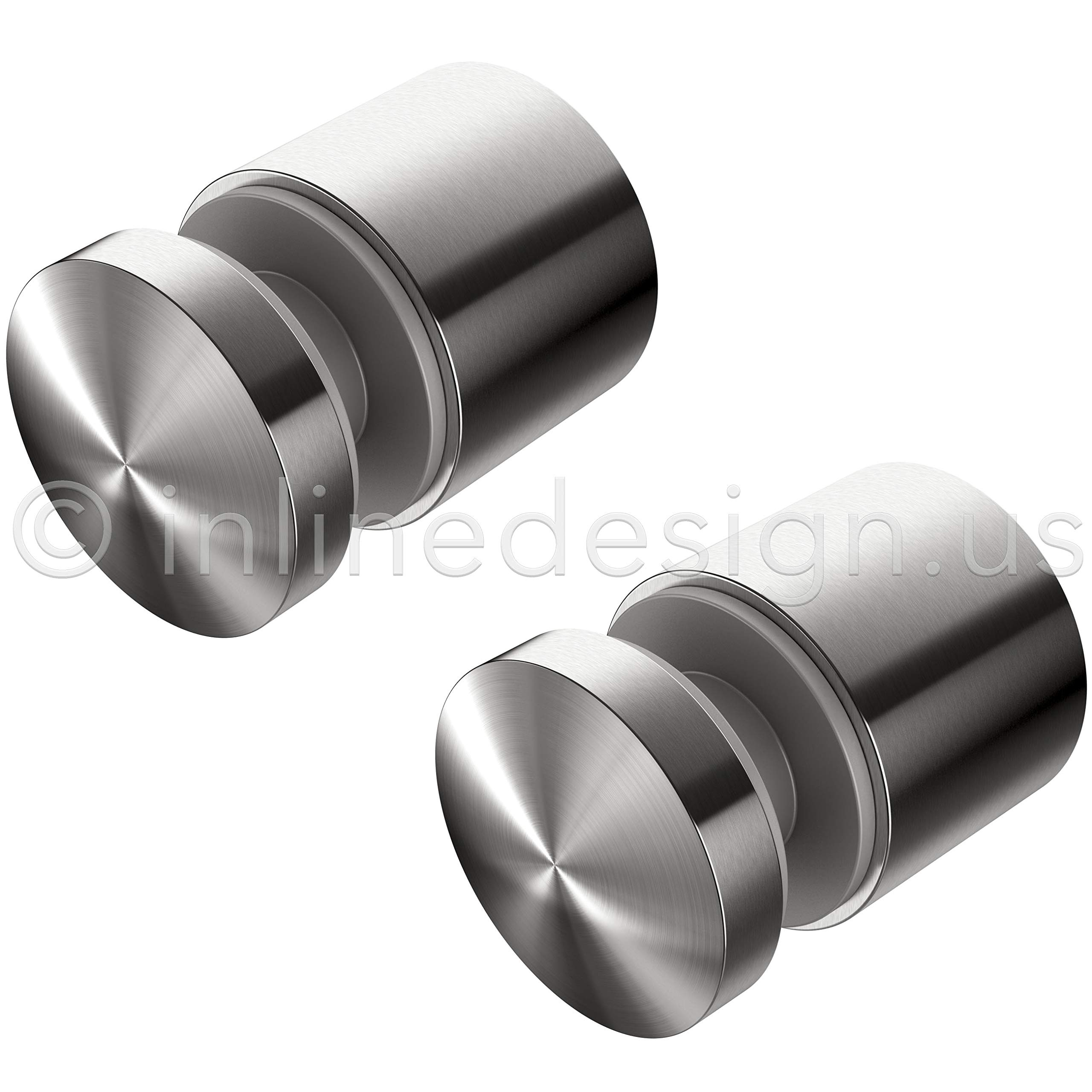 (Pack of 2) Large 2'' Diameter Heavy Duty Stainless Steel Glass Standoffs by Inline Design