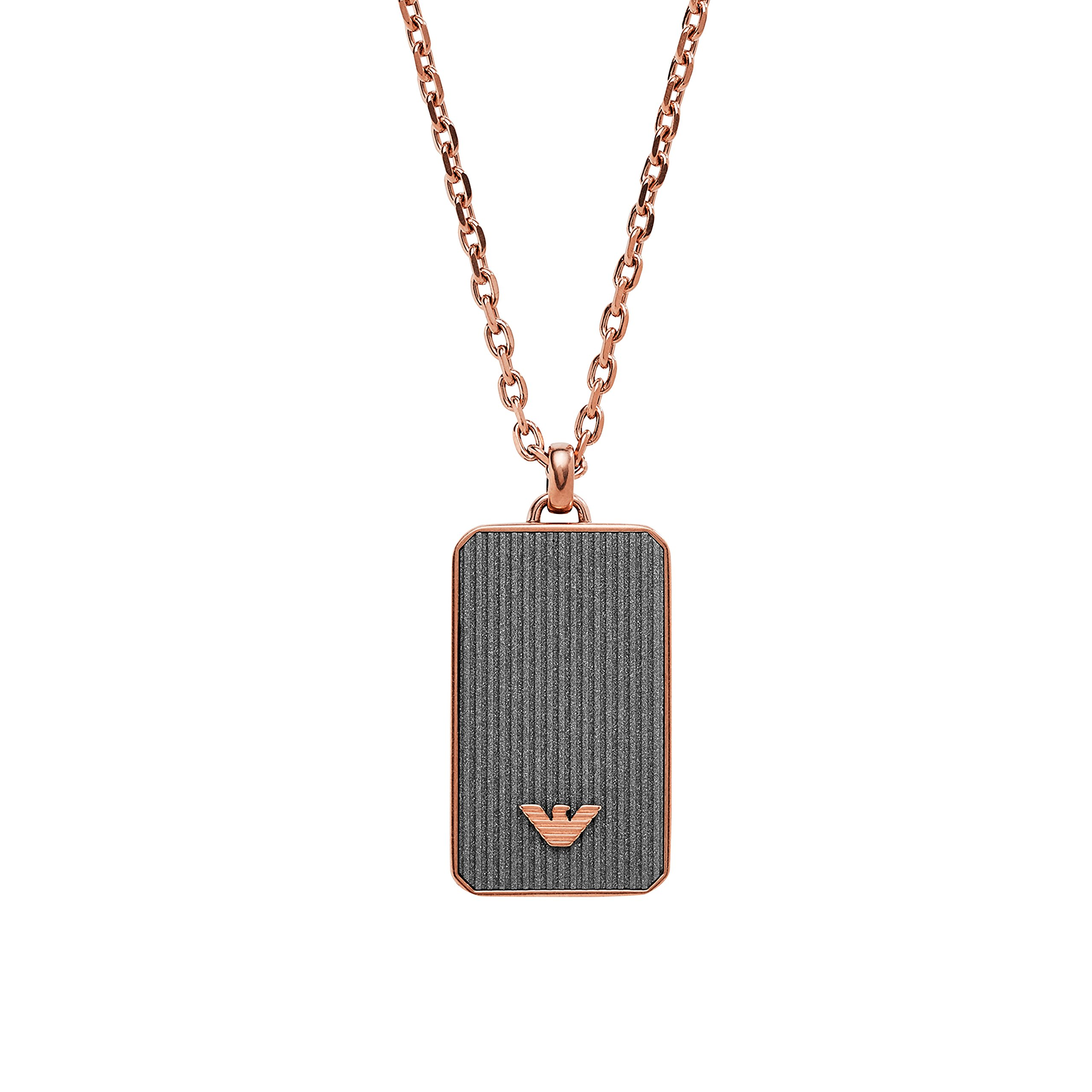 EMPORIO ARMANI MEN''S ROSE GOLD-TONE GREY DOG TAG NECKLACE EGS2222221 in Gift Box