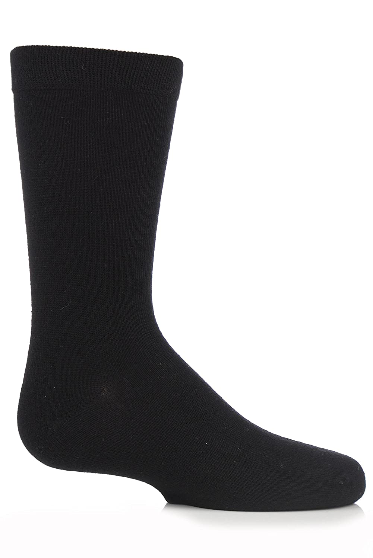 Boys and Girls 1 Pair SockShop Plain Bamboo Socks with Gentle Grip and Handlinked Toes In Black
